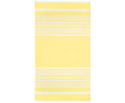 Telo fouta in cottone Nora, 100% cotone, qualità molto leggera 130 g/m², Giallo, bianco crema, Larg. 90 x Lung. 170 cm