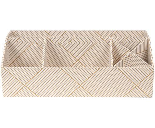 Bureau organizer Elisa, Massief, gelamineerd karton, Goudkleurig, wit, 33 x 13 cm