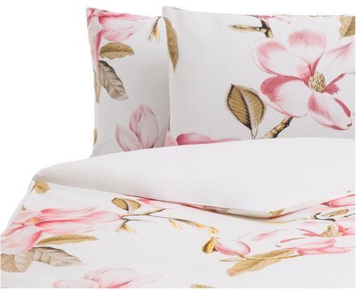 Parure copripiumino reversibile Magnolia, Rosa, verde, bianco