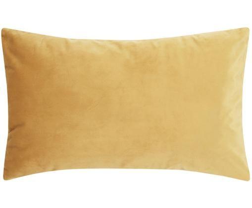 Federa arredo in velluto lucido Monet, Velluto di poliestere, Giallo, Larg. 30 x Lung. 50 cm