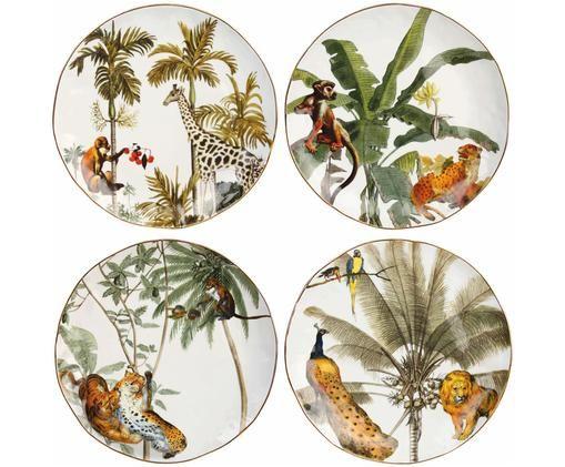 Set piatti da colazione Animaux, 4 pz., Porcellana, Multicolore, Ø 20 cm