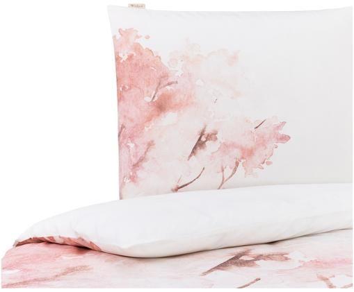 Wendebettwäsche Pink Bloom, Baumwolle, Weiß, Rosa, 135 x 200 cm