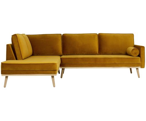 Samt-Ecksofa Saint (3-Sitzer), Bezug: Samt (Polyester) 35.000 S, Gestell: Massives Eichenholz, Span, Senfgelb, B 243 x T 220 cm