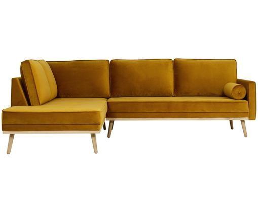 Samt-Ecksofa Saint (3-Sitzer), Bezug: Samt (Polyester) 35.000 S, Gestell: Massives Eichenholz, Span, Samt Senfgelb, B 243 x T 220 cm