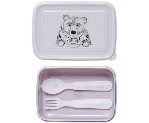 Set fiambrera Kombi, 3pzas., Plástico, Lila,blanco, An 15 x Al 5 cm