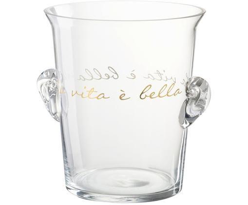 Wiaderko do lodu La Vita, Szkło, Transparentny, odcienie złotego, Ø 19 x W 21 cm