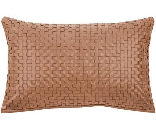 Funda de cojín de cuero Josefin, Funda: 100%cuero, Coñac, An 30 x L 50 cm