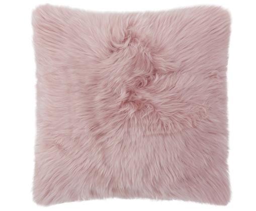 Federa arredo in pelliccia di pecora Oslo, liscia, Fronte: rosa retro: grigio chiaro