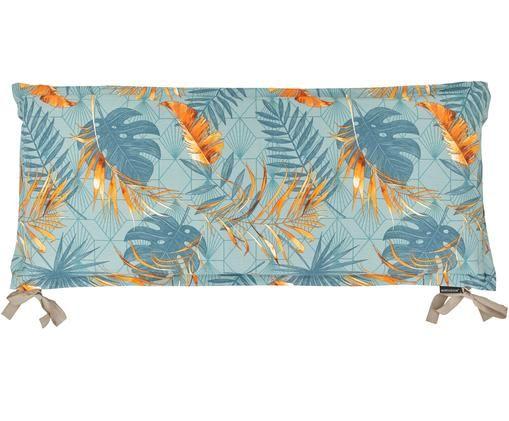 Bankauflage Dotan mit tropischem Print, Bezug: 50% Baumwolle, 45% Polyes, Hellblau, Blau, Orange, 48 x 120 cm