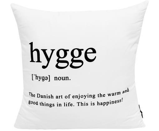 Kissenhülle Hygge in Schwarz/Weiß mit Schriftzug, Polyester, Schwarz, Weiß, 45 x 45 cm