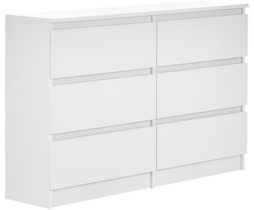 Breite Kommode Pari mit 6 Schubladen in Weiß Matt, Korpus: Mitteldichte Holzfaserpla, Weiß, 119 x 76 cm