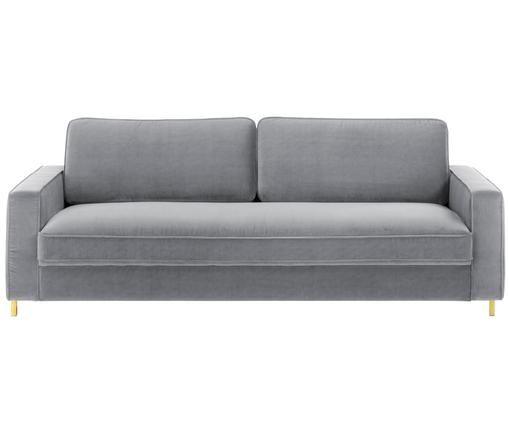 Samt-Sofa Chelsea (3-Sitzer), Bezug: Samt (Hochwertiger Polyes, Gestell: Massives Fichtenholz, Füße: Metall, beschichtet, Grau, B 228 x T 100 cm