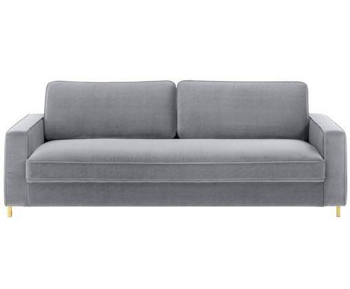 Samt-Sofa Chelsea (3-Sitzer), Bezug: Samt (Hochwertiger Polyes, Gestell: Massives Fichtenholz, Füße: Metall, beschichtet, Samt Grau, B 228 x T 100 cm