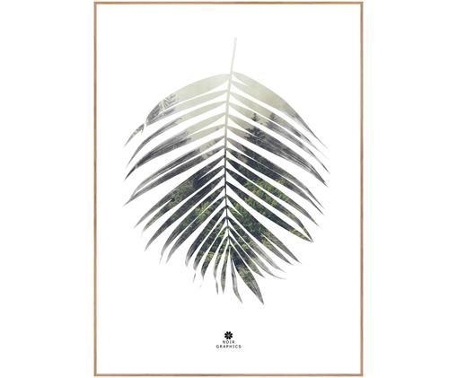 Impression numérique encadrée Palm Leaf, Tons verts, blanc
