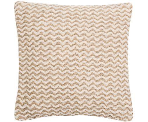 Poszewka na poduszkę z juty/bawełny Adelle, 50% bawełna, 50% juta, Kremowobiały, juta, S 40 x D 40 cm