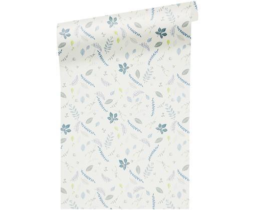 Tapeta Pressed Leaves, Papier, Kremowy, niebieski, szary, żółty, S 53 x D 1005 cm