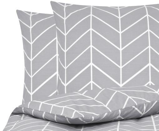 Renforcé-Bettwäsche Mirja mit grafischem Muster, Webart: Renforcé, Grau, Cremeweiß, 240 x 220 cm