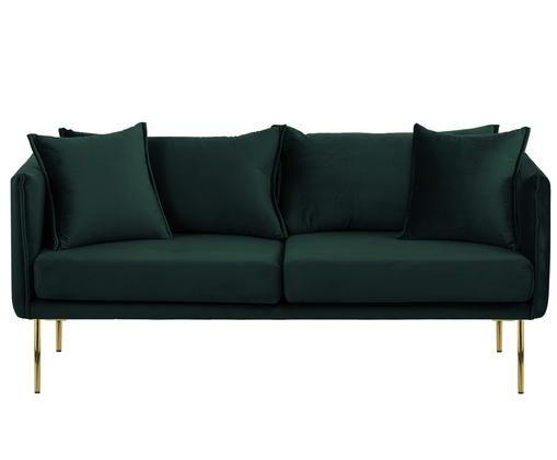 Sofa z aksamitu Ivy (2-osobowa), Tapicerka: ciemnyzielony Nogi: odcienie złotego