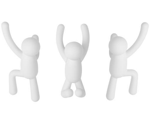 Set di 3 ganci appendiabiti da parete Buddy, Materiale sintetico ABS, Bianco, Diverse dimensioni
