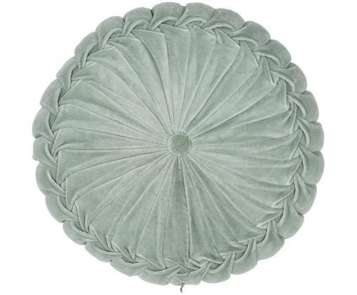 Rundes Samt-Kissen Kanan mit Raffungen, mit Inlett, Baumwollsamt, Mint, Ø 40 x H 10 cm