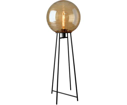 Stehlampe Lantaren aus Glas, Lampenschirm: Glas, Lampenfuß: Metall, lackiert, Bernsteifarben, Schwarz, Ø 37 x H 117 cm