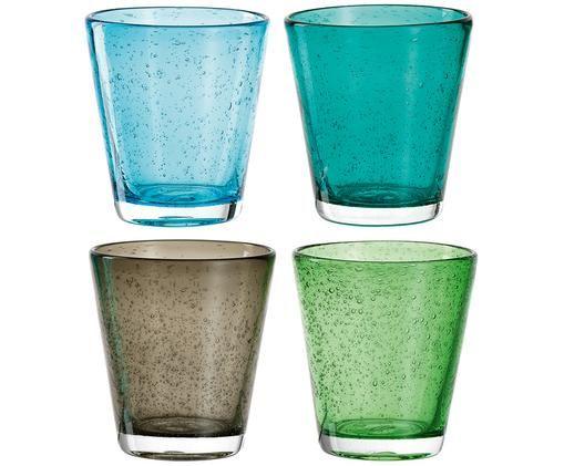 Set di 4 bicchieri acqua Burano, Vetro, Azzurro, turchese, marrone, verde, Ø 9 x A 10 cm