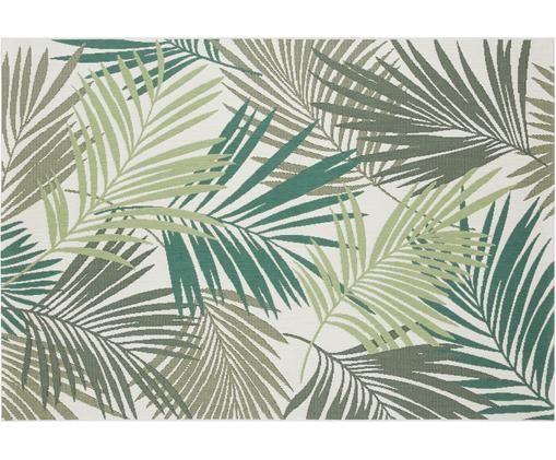 In-  und Outdoorteppich Vai mit Blattmuster, Polypropylen, Grüntöne, Beige, B 120 x L 170 cm (Größe S)
