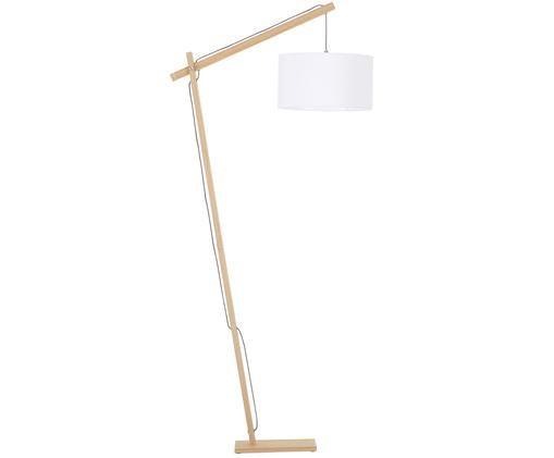 Lampada da terra scandi Woody, Base della lampada: metallo con impiallacciat, Paralume: miscela di cotone, Base della lampada: legno impiallacciato Paralume: bianco, Alt. 166 x Larg. 81 cm