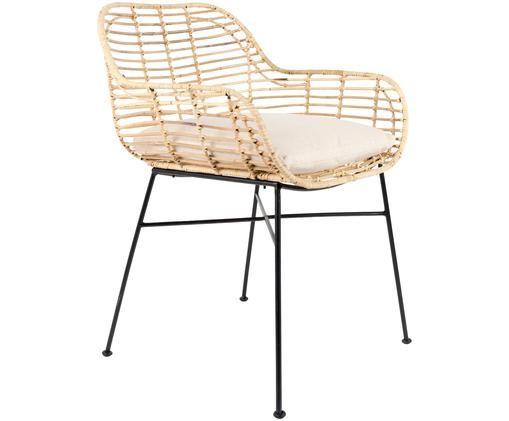 Krzesło z podłokietnikami z rattanu Tiger, Nogi: żelazo, malowane proszkow, Tapicerka: bawełna, Siedzisko: rattan Nogi: czarny Poduszka: kremowy, S 57 x G 60 cm
