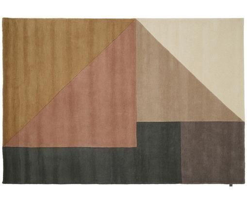 Alfombra artesanal de lana Arguto, Beige, rosa palo, gris, marrón