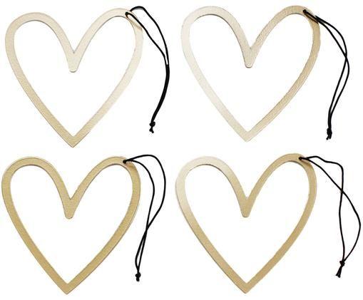 Set de colgantes decorativos Heart, 4pzas., Oro rosa, negro, An 8x Al 9 cm