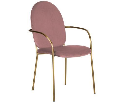 Sedia con braccioli in velluto Mary, Rivestimento: velluto (poliestere) 15.0, Struttura: metallo rivestito, Rosa cipria, Larg. 55 x Prof. 64 cm