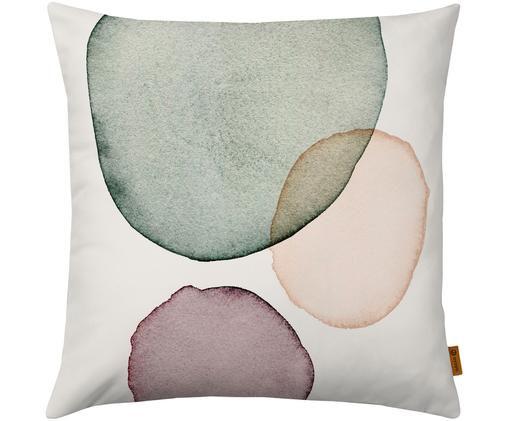 Kissenhülle Calm mit geometrischem Print in Aquarelloptik, Weiß, Grün, Lila, Lachsfarben