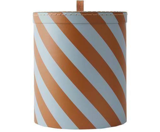 Caja Cecila, Cartón, cuero, Azul, marrón, Ø 23 x Al 26 cm