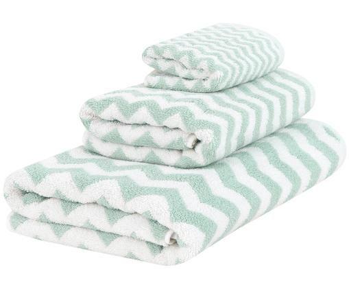 Set asciugamani Liv, 3 pz., 100% cotone, qualità media 550g/m², Verde menta, bianco crema, Diverse dimensioni