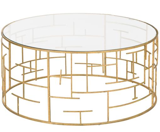 Tavolino da salotto dorato con piano in vetro Nola, Piano d'appoggio: vetro, Struttura: metallo, rivestito, Dorato, Ø 90 x Alt.40 cm