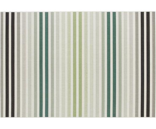 Gestreifter In- und Outdoorteppich Paros, Polypropylen, Grün, Beige, Anthrazit, B 80 x L 150 cm (Größe XS)