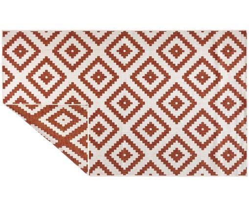 Dubbelzijdig in- en outdoor vloerkleed Malta, Terracottakleurig, crèmekleurig, B 80 x L 150 cm (maat XS)
