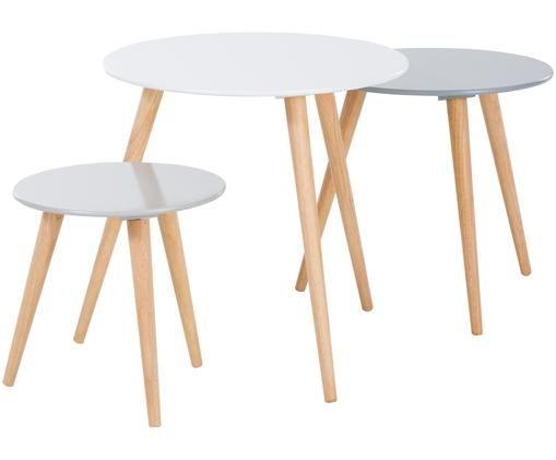 Set de mesas auxiliares Stockholm, 3uds., Tablero: fibras de densidad media , Patas: madera de roble, Gris claro, gris oscuro, blanco, Tamaños diferentes