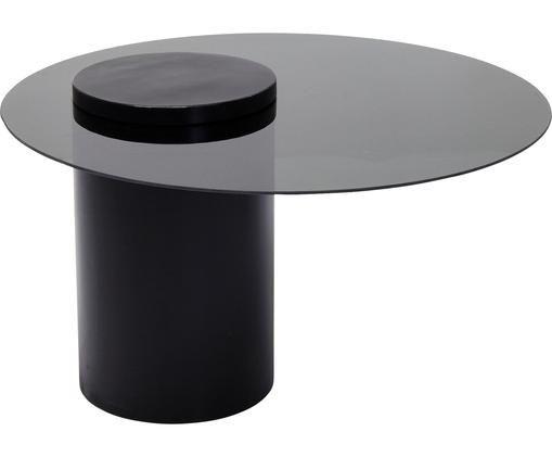 Couchtisch Loft mit schwarzer Glasplatte, Tischplatte: Sicherheitsglas (ESG), ge, Gestell: Metall, pulverbeschichtet, Schwarz, Ø 80 x H 48 cm