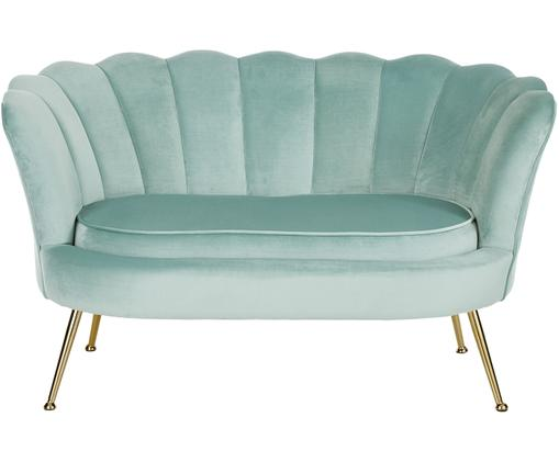 Canapé en velours Oyster (2places), Turquoise
