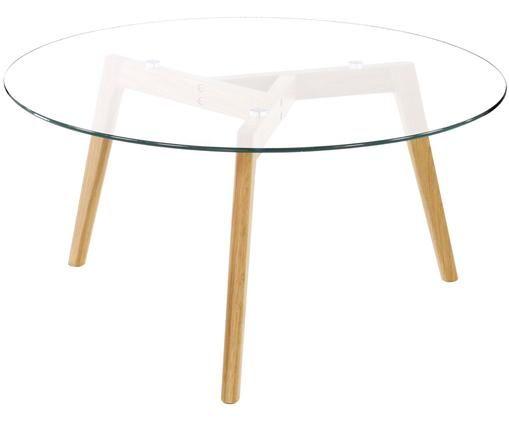 Tavolino da salotto rotondo con piano in vetro Bloom, Piano d'appoggio: vetro, Trasparente, Ø 90 x Alt. 40 cm