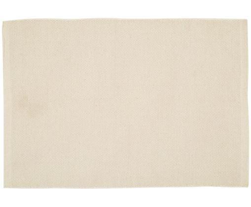 Handgeweven wollen vloerkleed Delight in wolwit, Bovenzijde: 90% wol, 10% katoen, Onderzijde: katoen, Wolwit, 140 x 200 cm