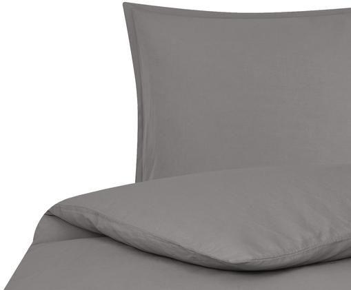 Gewaschene Leinen-Bettwäsche Breezy in Dunkelgrau, 52% Leinen, 48% Baumwolle Mit Stonewash-Effekt, Dunkelgrau, 135 x 200 cm