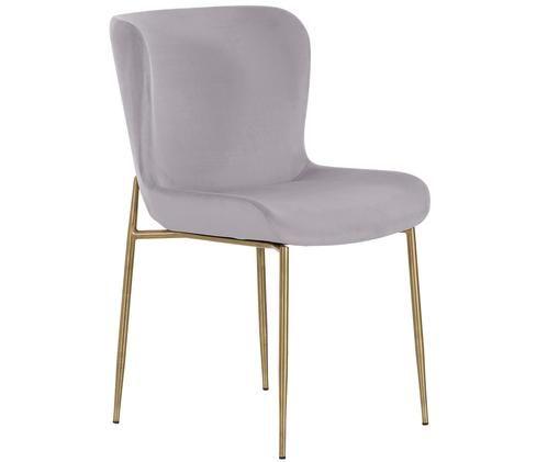 Chaise rembourrée en velours Tess, Couleur lilas