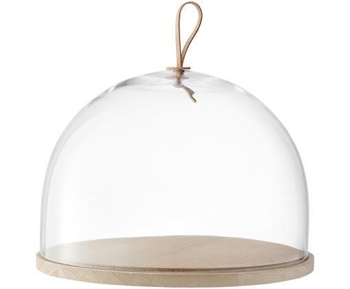 Quesera Cloche Ivalo, Campana: vidrio, Correa: cuero, Transparente, marrón, Ø 32 x Al 23 cm