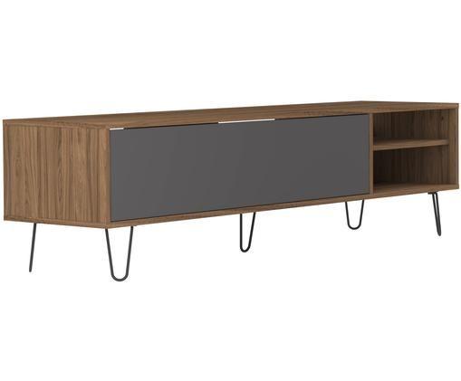 Tv-meubel Aero met klapdeur, Frame: melamine gecoate spaanpla, Poten: gelakt metaal, Walnootkleurig, grijs, 165 x 44 cm
