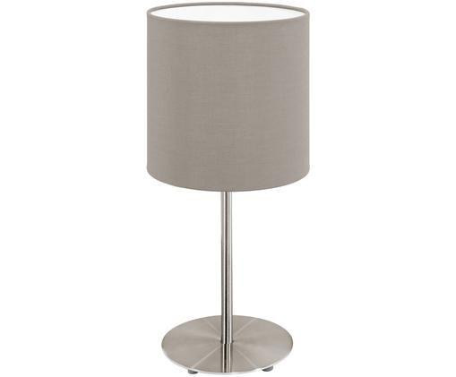Tischleuchte Mick, Lampenschirm: Textil, Lampenfuß: Metall, vernickelt, Silberfarben,Taupe, ∅ 18 x H 40 cm