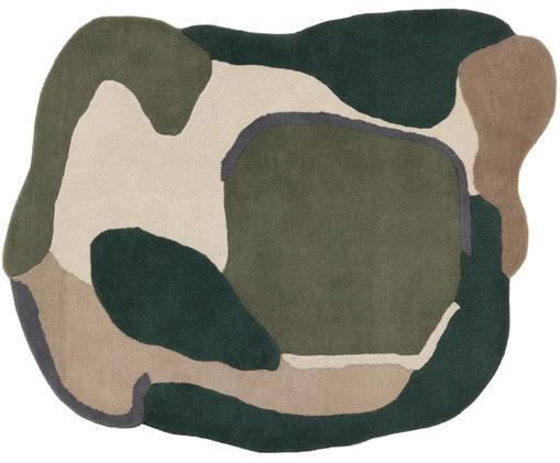 Alfombra de lana texturizada Oblivian, Parte superior: lana, Reverso: 55%algodón, 45%poliéste, Verde, beige, An 140 x L 180 cm (Tamaño S)