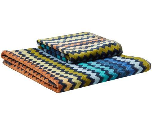 Handdoekenset Warner, 2-delig, Weeftechniek: fluweel badstof, Multicolour, Verschillende formaten